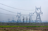 Transmission towers of lines of high voltage similar to very big owls and other exotic mythical animals, standing on the Indian plain.