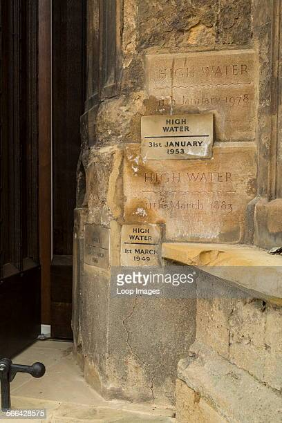 High water marks recording flooding on King's Lynn Minster
