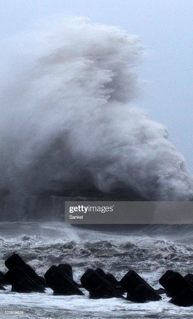 High waves triggered by the Typhoon Roke hit the rocks at breakwater on September 21, 2011 in Shizuoka, Japan.