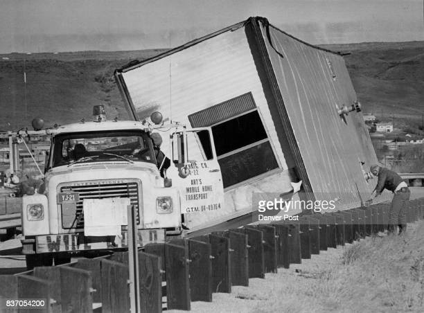 High winds blew over this 60foot house trailer outside Golden in Jefferson County No one was diana St through Mount Vernon Canyon and said about 10...