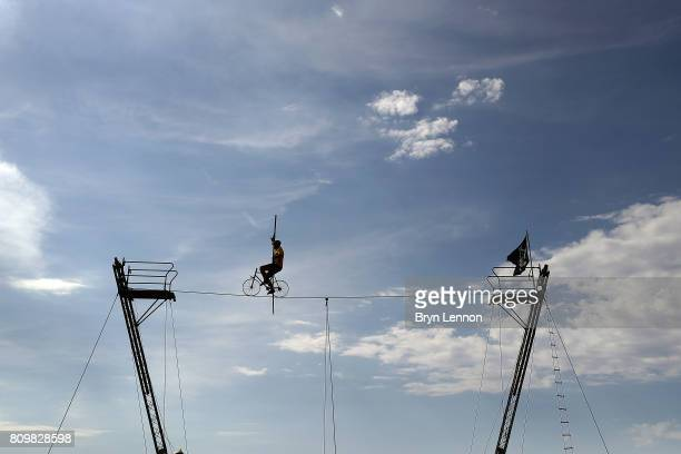 A high wire cyclist is seen on stage six of the 2017 Le Tour de France a 216km road stage from Troyes to Vesoul on July 6 2017 in Troyes France