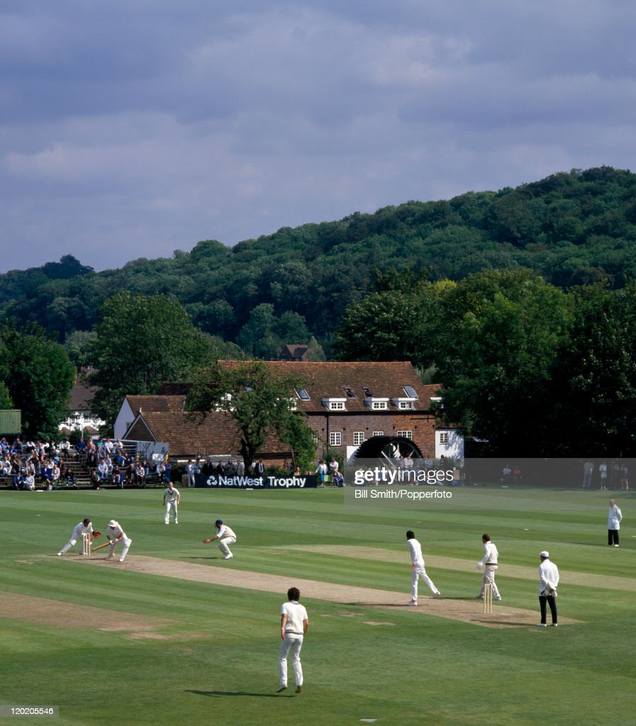 High Wycombe cricket ground during the Natwest Trophy 1st round match between Buckinghamshire and Somerset 24th June 1987 Buckinghamshire won by 7...