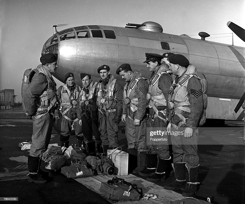 High Wycombe England RAF Bomber Command The crew of an RAF B29 aeroplane are about to take off on a bombing mission over Heligoland