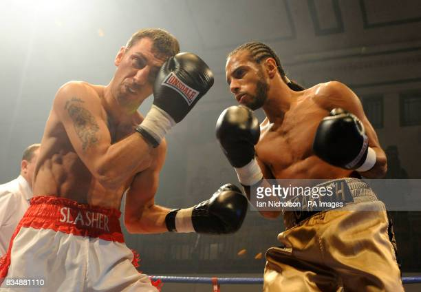 High Wycombe's Gareth Couch rightfaces Telford's Shaun Walton in a LightWelterweight contest at Bethnal Green's York Hall