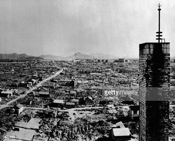 Highangle view of a section of the city of Hiroshima after the US atomic bombing on August 6 1945