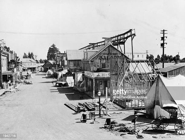 Highangle view of a Western set erected for the film 'Honky Tonk' on the 60acre Metro Goldwyn Mayer lot Hollywood California circa 1941