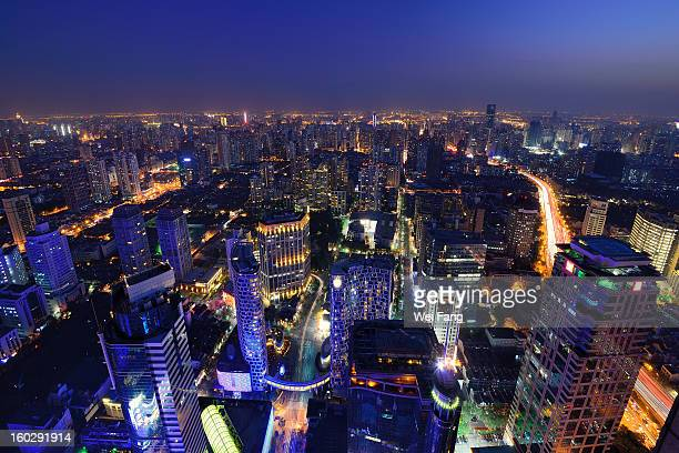 High-Angle View of Cityscape at Night