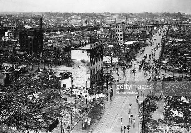 Highangle view of earthquake and fire damage on Hongokucho Street and the Kanda District taken from the Yamaguchi Bank building after the Kanto...
