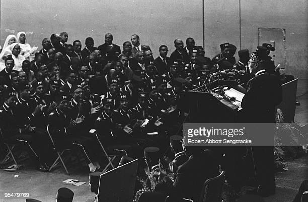 Highangle view of Nation of Islam attendees of the Saviour's Day celebrations at International Ampitheatre Chicago Illinois February 27 1966 Nation...