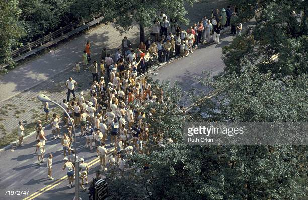 Highangle view of runners lined up for the first New York City Marathon in Central Park New York New York September 1970 The photograph entitled '1st...