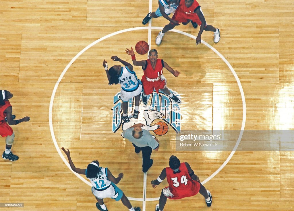 Highangle view of the tip at the American Basketball League's first game between the New England Blizzard and the Richmond Rage Hartford Connecticut...