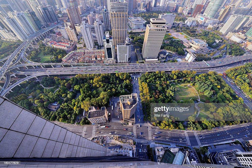 High-Angle-Vew Cityscape : Stock Photo