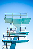 High-diving board structure and ladders