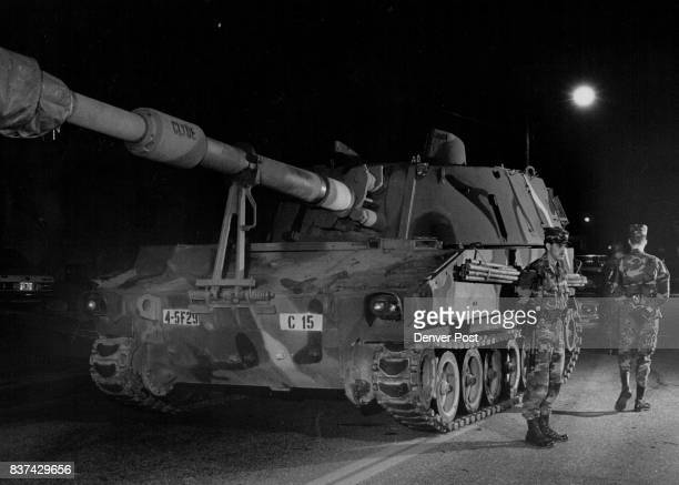 NOV 12 1987 'Highjack Howitzer Tank' 8th and Glencoe St Shot of MP's from ft Carson stand guard around the m109155 mm howitzer early Wednesday...