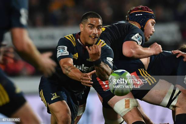 Highlanders' Aaron Smith passes the ball during the Super Rugby match between New Zealand's Highlanders and Japan's Sunwolves at Rugby Park in...