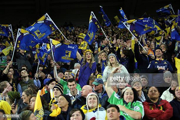 Highlanders fans during the Super Rugby Final match between the Hurricanes and the Highlanders at Westpac Stadium on July 4 2015 in Wellington New...