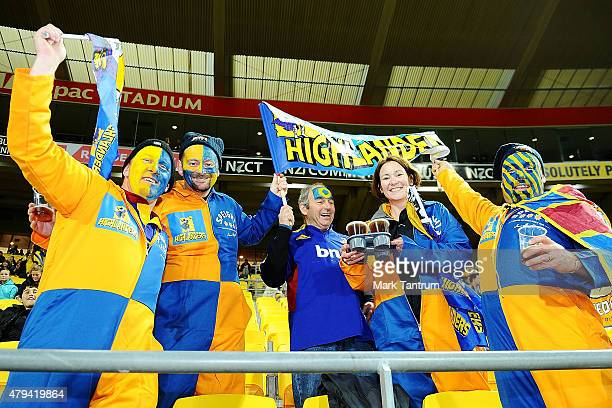 Highlanders fans show their support before the Super Rugby Final match between the Hurricanes and the Highlanders at Westpac Stadium on July 4 2015...