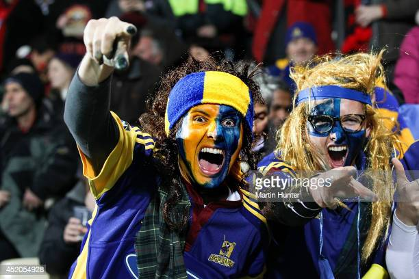 Highlanders fans show their support during the round 19 Super Rugby match between the Crusaders and the Highlanders at AMI Stadium on July 12 2014 in...