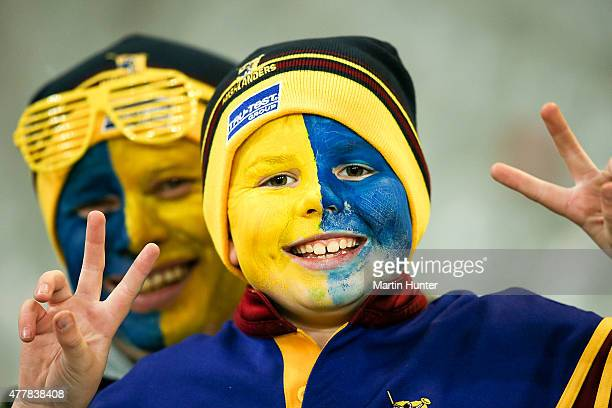 Highlanders fans show their support during the Super Rugby Qualifying Final match between the Highlanders and the Chiefs at Forsyth Barr Stadium on...