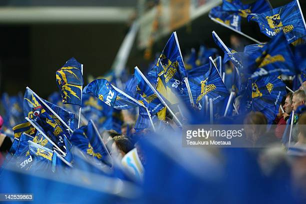 Highlanders fans show there support during the Super Rugby round seven match between the Highlanders and the Stormers at Forsyth Barr Stadium on...
