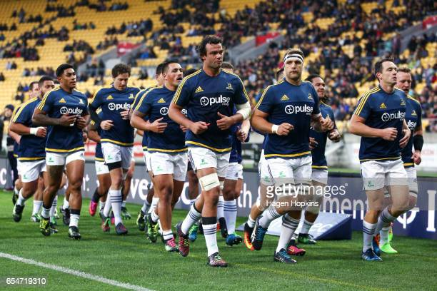 Highlanders players head to the changing rooms after warming up during the round four Super Rugby match between the Hurricanes and the Highlanders at...