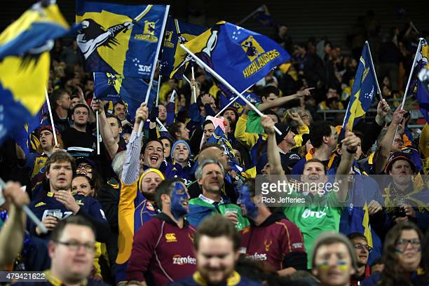 Highlanders supporters during the Super Rugby Final match between the Hurricanes and the Highlanders at Westpac Stadium on July 4 2015 in Wellington...