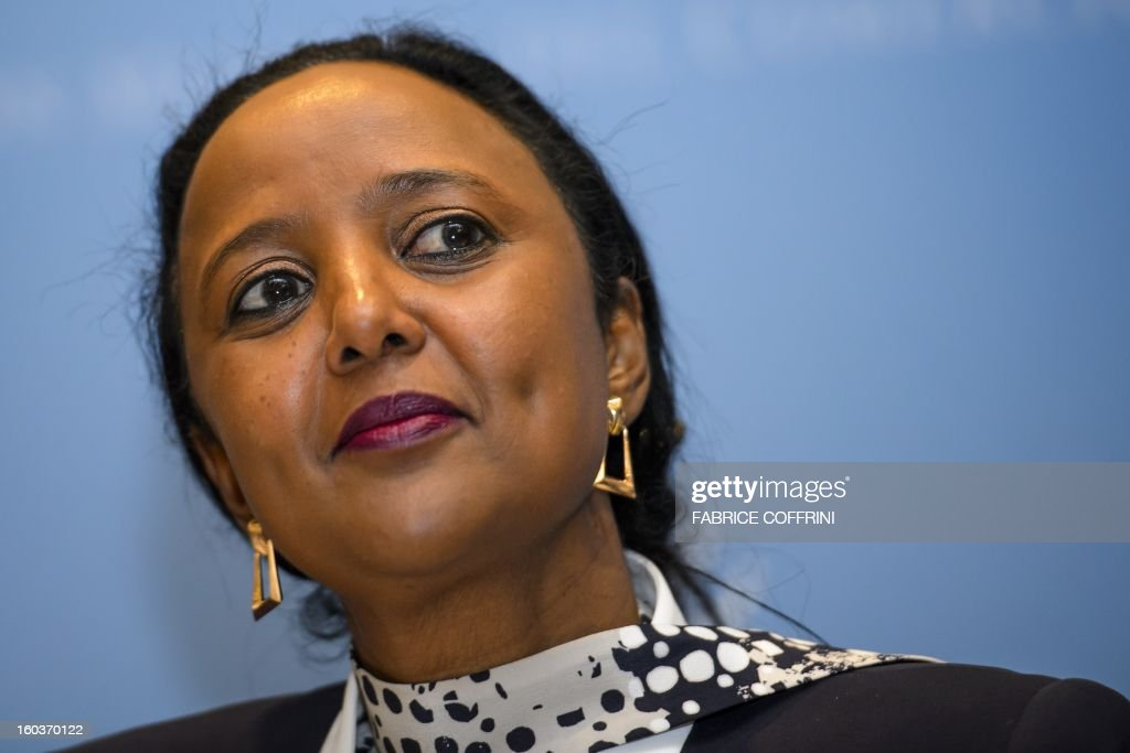 high-level United Nations executive Amina Mohamed of Kenya attends a press conference following a hearing on January 30, 2013 at the World Trade Organization (WTO) headquarters in Geneva. WTO is interviewing nine candidates to replace Pascal Lamy as director general. The WTO's 158 member countries is to make its decision known by May 31.