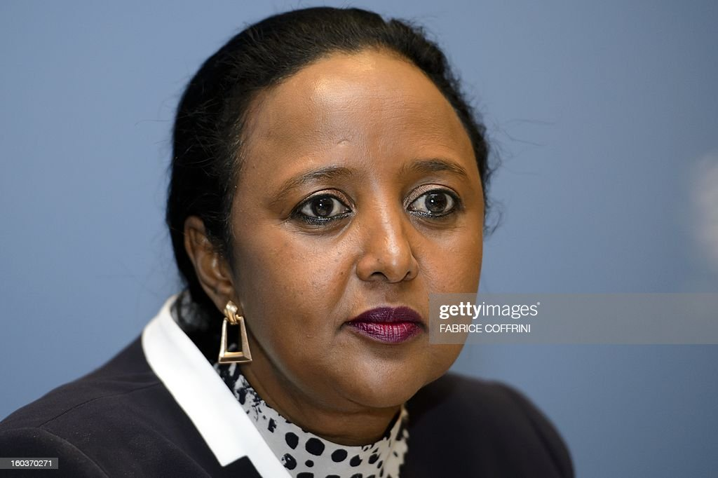 High-level United Nations executive Amina Mohamed of Kenya attends a press conference following a hearing on January 30, 2013 at the World Trade Organization (WTO) headquarters in Geneva. WTO is interviewing nine candidates to replace Pascal Lamy as director general. The WTO's 158 member countries is to make its decision known by May 31. AFP PHOTO / FABRICE COFFRINI