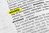 """Highlighted English word """"anxiety"""" and its definition in the dictionary."""