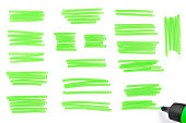 """Green highlighter's marks, traces. Highlighter pen scribbles. Swashes of a highlighter pen."""