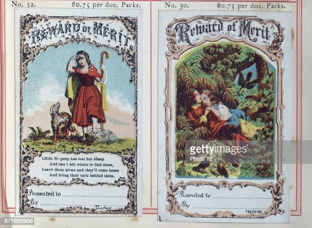 Highly coloured 'Reward cards' or certificates were used for children who had achieved distinction in schools in the USA during the first decade of...