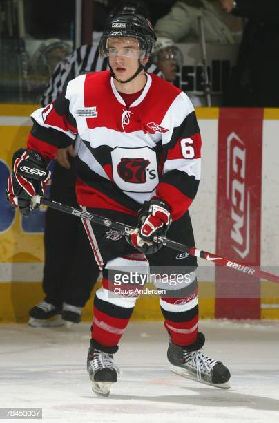 Highly touted 2008 NHL draft pick Tyler Cuma of the Ottawa 67's skates in a game against the Peterborough Petes on December 6 2007 at the...