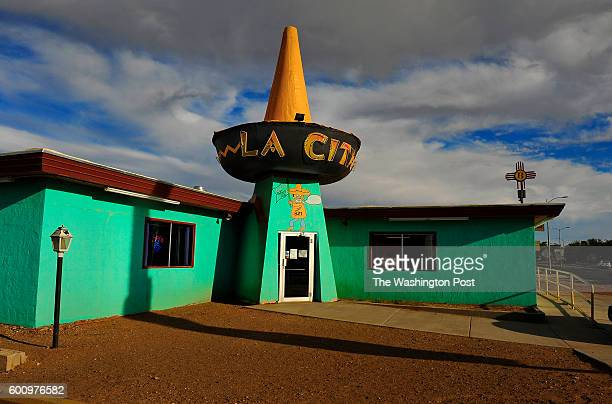A highpeaked sombrero with neon embellishments tops the entrance to the retrolooking La Cita Mexican restaurant in Tucumcari The famed Route 66...