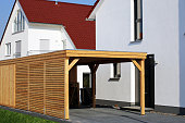 Wooden carport on residential home
