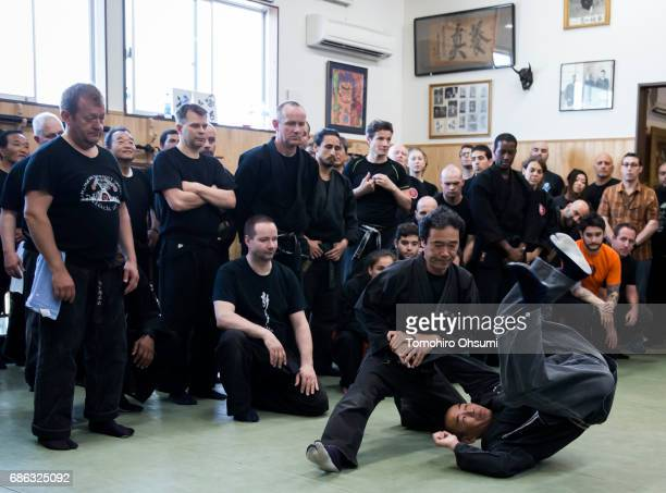 Highranked disciples of Grandmaster Masaaki Hatsumi take part in a lesson at the Bujinkan dojo on May 21 2017 in Noda Japan The Bujinkan is a martial...