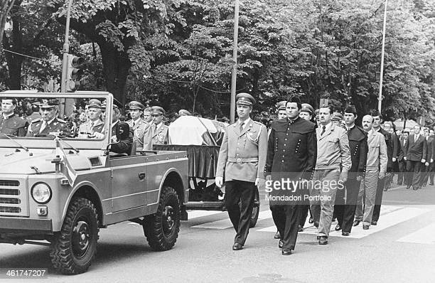 Highranking officers escorting the coffin of the President of the Socialist Federal Republic of Yugoslavia Josip Broz Tito Belgrade 8th May 1980
