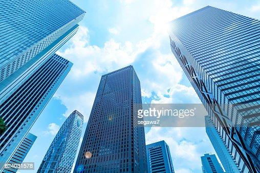 High-rise buildings and blue sky - Shinjuku, Tokyo, Japan : Stock Photo
