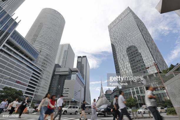 Highrise buildings near JR Nagoya Station in central Japan are pictured on Sept 14 2017 Government data showed Sept 19 that average commercial land...