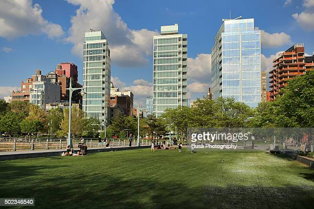 Highrise condominium buildings at Pier 45, West Village, Manhattan, New York City