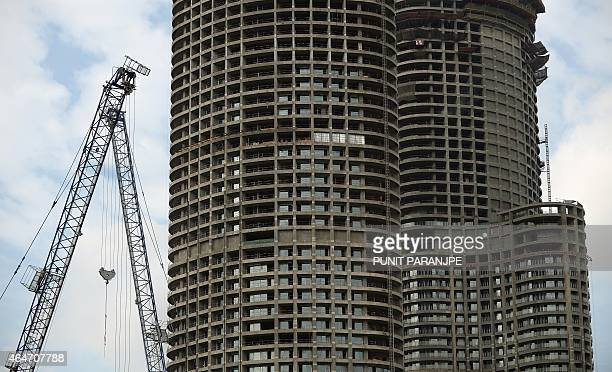 A highrise residential construction site is pictured in Mumbai on February 28 2015 Prime Minister Narendra Modi's rightwing government unveils its...