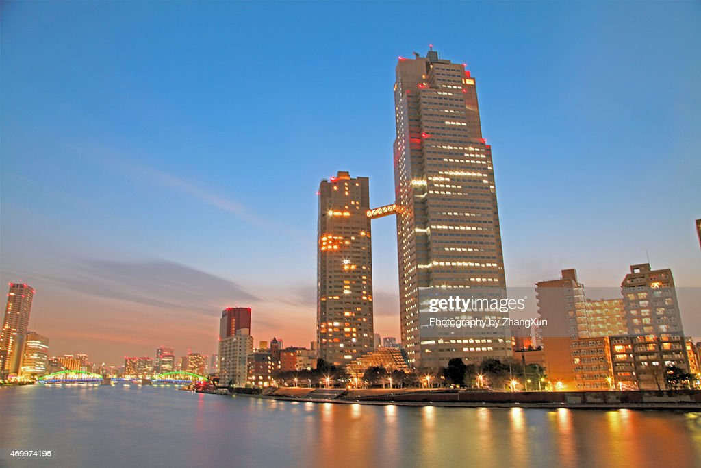 high-rises and skycrapers in kachidoki tokyo : Stock Photo