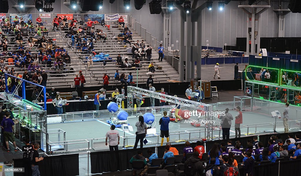 High-school inventors, 200 teams of robot designment from different states of the United States, compete at Javits Center, in Manhattan, New York, on April 4, 2014. Under the leadership of engineer instructors, teams try yo score a goal in 3 minutes. Final competitions will be held on April 6 with the sponsorship of world's leading computer and software companies, like IBM and Intel.