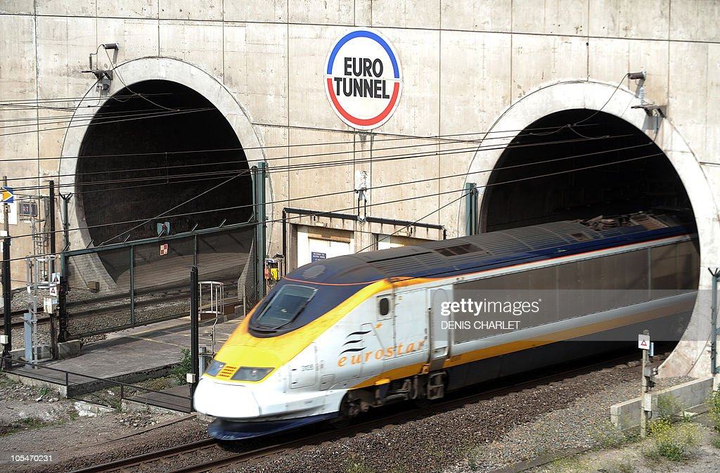 A highspeed Eurostar train from London leaves the Channel tunnel before arriving at the Eurotunnel terminal in Coquelles near Calais northern France...