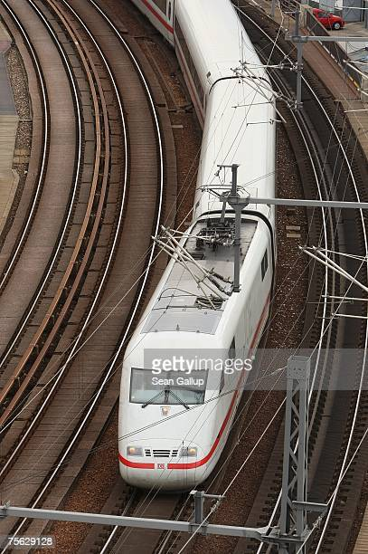A highspeed ICE train of German state railways Deutsche Bahn drives through the city center July 25 2007 in Berlin Germany The German government...