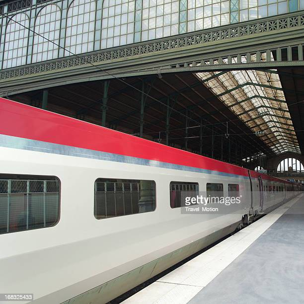 Treno ad alta velocità che arrivano alla stazione ferroviaria Gare Du Nord di Parigi