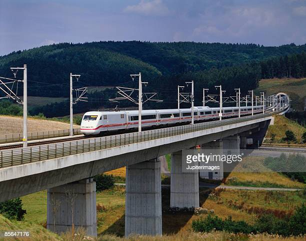 High-speed train in countryside
