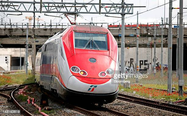 A highspeed train operated by Trenitalia SpA arrives at Tiburtina station in Rome Italy on Friday April 20 2012 Nuovo Trasport Viaggiatori SpA will...