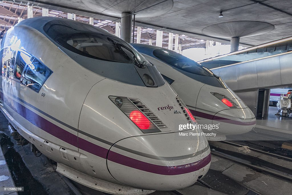 Highspeed trains from Renfe at the Atocha Railway station in Madrid