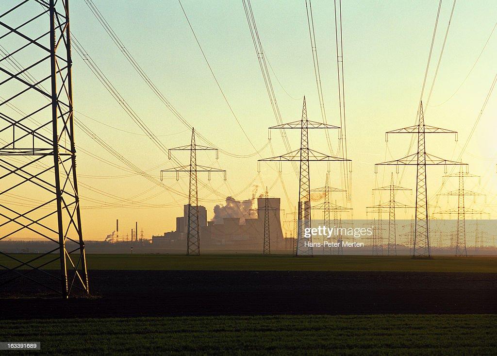 high-voltage power lines, coal power plant