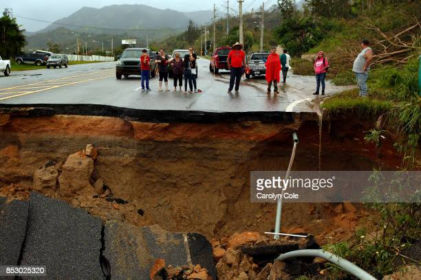 Highway 10 a major northsouth connection through Puerto Rico is completey washed out leaving people cut off In the mountain town of Utuado Puerto...